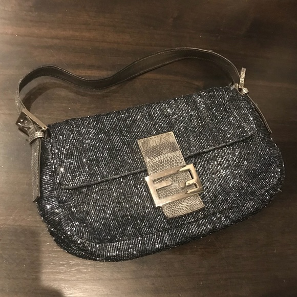 0b487345d250 Fendi Handbags - Fendi Beaded Baguette Shoulder Bag